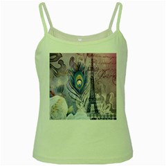Peacock Feather White Rose Paris Eiffel Tower Green Spaghetti Tank by chicelegantboutique