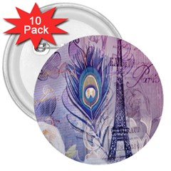 Peacock Feather White Rose Paris Eiffel Tower 3  Button (10 pack)