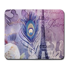 Peacock Feather White Rose Paris Eiffel Tower Large Mouse Pad (rectangle) by chicelegantboutique