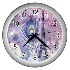 Peacock Feather White Rose Paris Eiffel Tower Wall Clock (silver) by chicelegantboutique