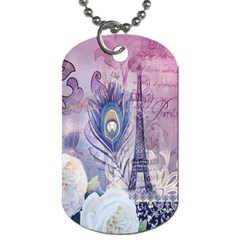 Peacock Feather White Rose Paris Eiffel Tower Dog Tag (one Sided) by chicelegantboutique