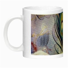 Peacock Feather White Rose Paris Eiffel Tower Glow In The Dark Mug by chicelegantboutique