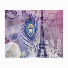 Peacock Feather White Rose Paris Eiffel Tower Glasses Cloth (small) by chicelegantboutique