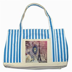 Peacock Feather White Rose Paris Eiffel Tower Blue Striped Tote Bag by chicelegantboutique