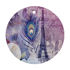 Peacock Feather White Rose Paris Eiffel Tower Round Ornament (two Sides) by chicelegantboutique