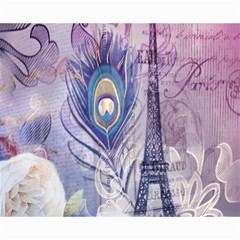 Peacock Feather White Rose Paris Eiffel Tower Canvas 16  X 20  (unframed) by chicelegantboutique