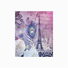 Peacock Feather White Rose Paris Eiffel Tower Canvas 24  X 36  (unframed) by chicelegantboutique