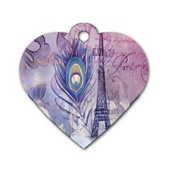 Peacock Feather White Rose Paris Eiffel Tower Dog Tag Heart (two Sided) by chicelegantboutique