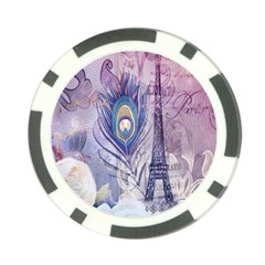 Peacock Feather White Rose Paris Eiffel Tower Poker Chip by chicelegantboutique