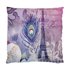 Peacock Feather White Rose Paris Eiffel Tower Cushion Case (single Sided)  by chicelegantboutique