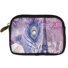 Peacock Feather White Rose Paris Eiffel Tower Digital Camera Leather Case by chicelegantboutique