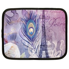 Peacock Feather White Rose Paris Eiffel Tower Netbook Case (xxl) by chicelegantboutique