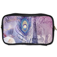 Peacock Feather White Rose Paris Eiffel Tower Travel Toiletry Bag (two Sides) by chicelegantboutique