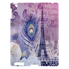 Peacock Feather White Rose Paris Eiffel Tower Apple Ipad 3/4 Hardshell Case by chicelegantboutique