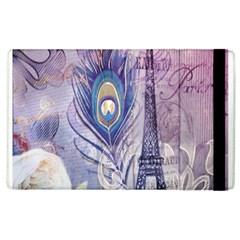 Peacock Feather White Rose Paris Eiffel Tower Apple Ipad 3/4 Flip Case by chicelegantboutique