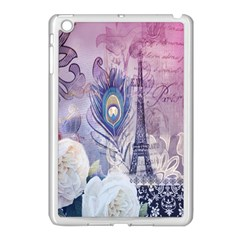 Peacock Feather White Rose Paris Eiffel Tower Apple Ipad Mini Case (white) by chicelegantboutique