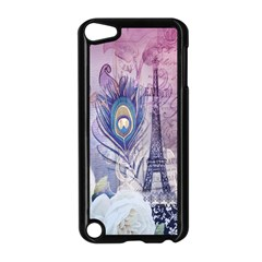 Peacock Feather White Rose Paris Eiffel Tower Apple Ipod Touch 5 Case (black) by chicelegantboutique