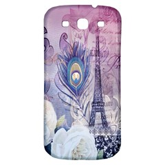 Peacock Feather White Rose Paris Eiffel Tower Samsung Galaxy S3 S Iii Classic Hardshell Back Case by chicelegantboutique