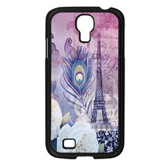 Peacock Feather White Rose Paris Eiffel Tower Samsung Galaxy S4 I9500/ I9505 (black) by chicelegantboutique