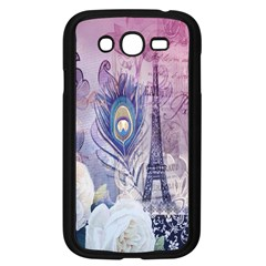 Peacock Feather White Rose Paris Eiffel Tower Samsung I9082(galaxy Grand Duos)(black) by chicelegantboutique