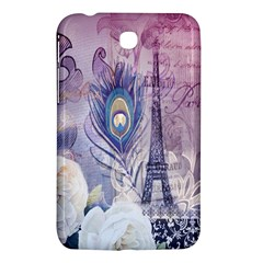 Peacock Feather White Rose Paris Eiffel Tower Samsung Galaxy Tab 3 (7 ) P3200 Hardshell Case  by chicelegantboutique