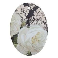 Elegant White Rose Vintage Damask Oval Ornament by chicelegantboutique
