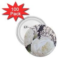 Elegant White Rose Vintage Damask 1 75  Button (100 Pack) by chicelegantboutique