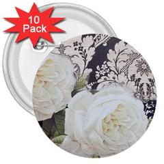 Elegant White Rose Vintage Damask 3  Button (10 Pack) by chicelegantboutique