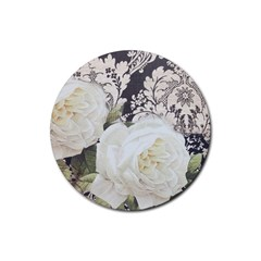 Elegant White Rose Vintage Damask Drink Coaster (round) by chicelegantboutique