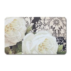 Elegant White Rose Vintage Damask Magnet (rectangular) by chicelegantboutique