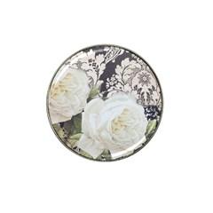 Elegant White Rose Vintage Damask Golf Ball Marker 10 Pack (for Hat Clip) by chicelegantboutique