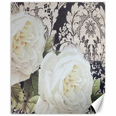 Elegant White Rose Vintage Damask Canvas 8  x 10  (Unframed)