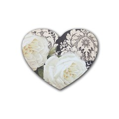 Elegant White Rose Vintage Damask Drink Coasters (heart) by chicelegantboutique