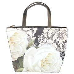 Elegant White Rose Vintage Damask Bucket Bag by chicelegantboutique