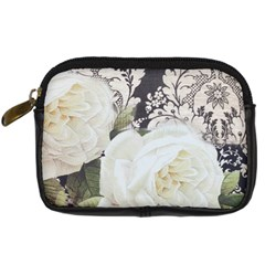 Elegant White Rose Vintage Damask Digital Camera Leather Case by chicelegantboutique