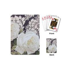 Elegant White Rose Vintage Damask Playing Cards (mini) by chicelegantboutique