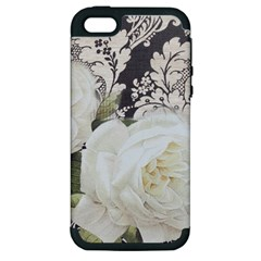 Elegant White Rose Vintage Damask Apple Iphone 5 Hardshell Case (pc+silicone) by chicelegantboutique