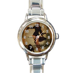 Paris Lady And French Poodle Vintage Newspaper Print Sexy Hot Gil Elvgren Pin Up Girl Paris Eiffel T Round Italian Charm Watch by chicelegantboutique