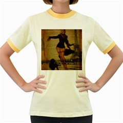 Paris Lady And French Poodle Vintage Newspaper Print Sexy Hot Gil Elvgren Pin Up Girl Paris Eiffel T Womens  Ringer T Shirt (colored) by chicelegantboutique