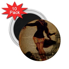 Paris Lady And French Poodle Vintage Newspaper Print Sexy Hot Gil Elvgren Pin Up Girl Paris Eiffel T 2 25  Button Magnet (10 Pack) by chicelegantboutique