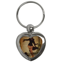 Paris Lady And French Poodle Vintage Newspaper Print Sexy Hot Gil Elvgren Pin Up Girl Paris Eiffel T Key Chain (heart) by chicelegantboutique