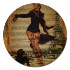Paris Lady And French Poodle Vintage Newspaper Print Sexy Hot Gil Elvgren Pin Up Girl Paris Eiffel T Magnet 5  (round) by chicelegantboutique