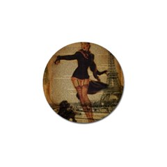 Paris Lady And French Poodle Vintage Newspaper Print Sexy Hot Gil Elvgren Pin Up Girl Paris Eiffel T Golf Ball Marker by chicelegantboutique