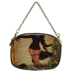 Paris Lady And French Poodle Vintage Newspaper Print Sexy Hot Gil Elvgren Pin Up Girl Paris Eiffel T Chain Purse (two Sided)  by chicelegantboutique