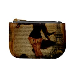 Paris Lady And French Poodle Vintage Newspaper Print Sexy Hot Gil Elvgren Pin Up Girl Paris Eiffel T Coin Change Purse by chicelegantboutique