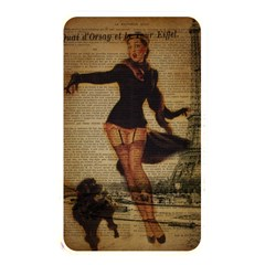 Paris Lady And French Poodle Vintage Newspaper Print Sexy Hot Gil Elvgren Pin Up Girl Paris Eiffel T Memory Card Reader (rectangular) by chicelegantboutique