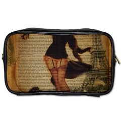 Paris Lady And French Poodle Vintage Newspaper Print Sexy Hot Gil Elvgren Pin Up Girl Paris Eiffel T Travel Toiletry Bag (one Side) by chicelegantboutique