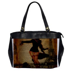 Paris Lady And French Poodle Vintage Newspaper Print Sexy Hot Gil Elvgren Pin Up Girl Paris Eiffel T Oversize Office Handbag (one Side) by chicelegantboutique
