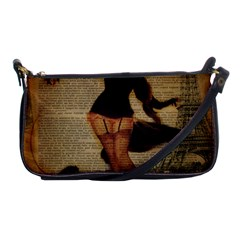 Paris Lady And French Poodle Vintage Newspaper Print Sexy Hot Gil Elvgren Pin Up Girl Paris Eiffel T Evening Bag by chicelegantboutique