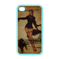 Paris Lady And French Poodle Vintage Newspaper Print Sexy Hot Gil Elvgren Pin Up Girl Paris Eiffel T Apple Iphone 4 Case (color) by chicelegantboutique